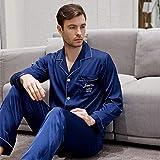 KTUCN Conjunto de Dos Piezas de los Pijamas de Seda de la Mancha, Pijamas Simples del hogar del Bordado del Bolsillo de Las Mujeres de los Hombres, Hombres Navy Set, XXL