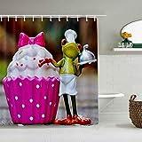 QINCO Duschvorhang,Froschkoch Kuchen lustiges Tierfutter,personalisierte Deko Badezimmer Vorhang,mit Haken,180 * 180