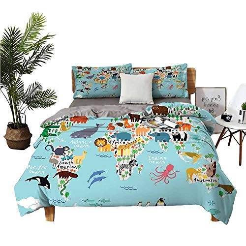 DRAGON VINES 4pcs Bedding Set BedSheet FullSizeBed Educational World Map Africa Camel America Lama Alligator Ocean Australia Koala Print Boys and Girls W80 xL90