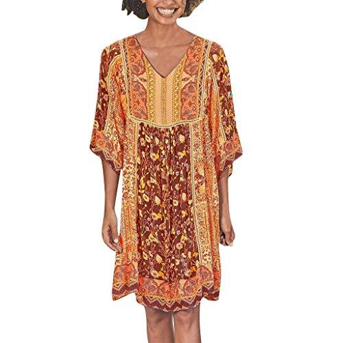 LOPILY Hippie Strandkleid Damen Blumen Gedruckte Sommerkleid 1/2 Arm Talliertes Tunikakleid für Freizeit Lockeres Blusenkleid 50 48 Boho Shirtskleid Damen Lässige Jumper Kleider Übergröße (Orange, 36)