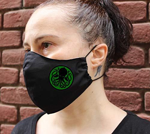 Gesichtsmaske mit Nasendraht Schwarze cthulhu, miskatonic, Arkham, Maske aus waschbarer Baumwolle, wiederverwendbar