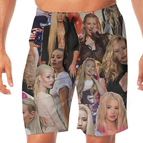 KATHRYN TIMOTHY Iggy Azalea Beach Swim Trunks Men's Board Shorts Casual Summer Pants Quick Dry Walk Short with Pockets XXL White