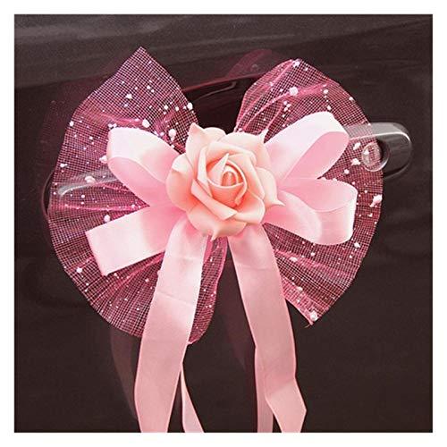 Changskj Tire de la Flor 2 unids Suministros de Boda Coche Organza tirón Flor Cinta Florista Flor Regalos Embalaje Cintas de Embalaje Arco Rosa púrpura Rojo (Color : Pink)