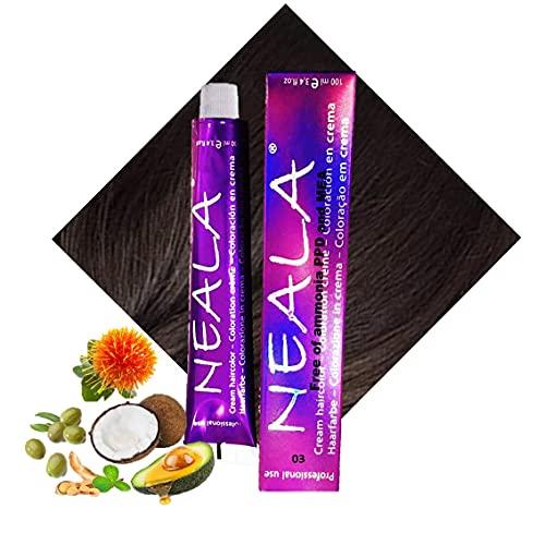 Tintura professionale colorazione per capelli SENZA AMMONIACA, PPD o MEA - 03 - CASTANO SCURO - NEALA 100ml.