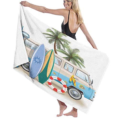 Grande Suave Toalla de Baño Manta,Concepto de Fin de Semana de Surf con Elementos de Buceo, Aletas, Snorkel y Viaje en Furgoneta, relajar la Paz,Hoja de Baño Toalla de Playa Viaje Nadando,52' x 32'