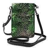 Pequeño bolso de mano de teléfono móvil con impresión de serpiente, color verde