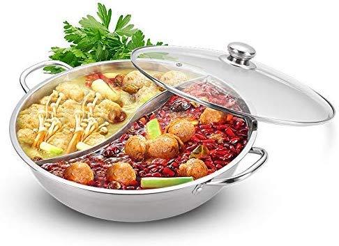 Roestvrij staal 30 cm 2 vakken hotpot roestvrij staal kookpan soeppan met glazen deksel keukenlepel voor inductie