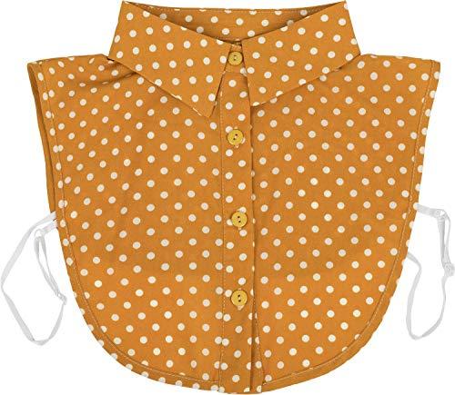 styleBREAKER Damen Blusenkragen Einsatz mit Punkte Muster und Knopfleiste, Kragen für Blusen und Pullover, Rockabilly Style 08020005, Farbe:Curry-Weiß