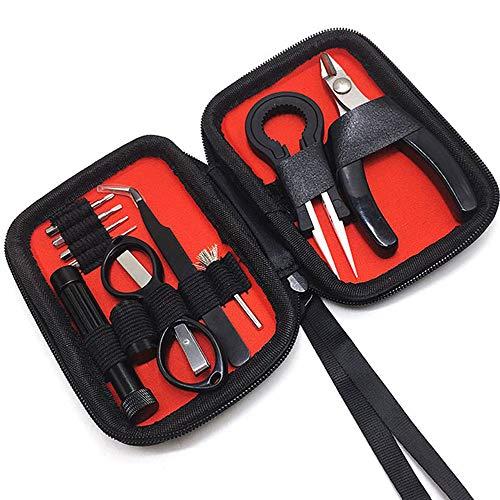 V2 DIY Werkzeug Set-11Stück Edelstahl Spule-Jig-wickelset,Keramik-Pinzette und Gebogenes Pinzetten, Multifunktions-Schraubendreher,Drahtschneider,Spulen-Set für den Spulenbau DIY Lovers Als Geschenk