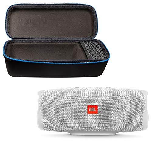 JBL Charge 4 Portable Waterproof Wireless Bluetooth Speaker Bundle with divvi! Charge 4 Protective Hardshell Case - White