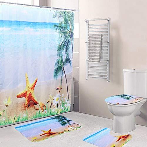 Quskto Badmattenset, badkamerdecoratief douchegordijn, badkamermat, niet plakkend, pedestal, tapijt, deksel, toiletafdekking, badmat, blauw, badkamer, toilet, douchekamer decoreren
