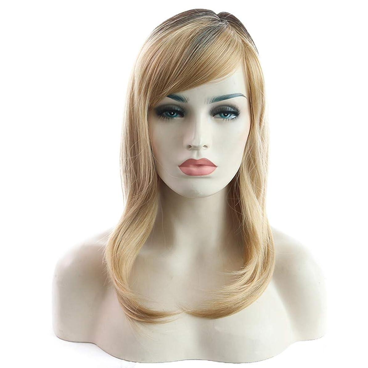 お願いします福祉冗談で女性かつらファッション耐熱合成ブラジルの魅力的なゴールドの髪フルショートボブかつら36 cm