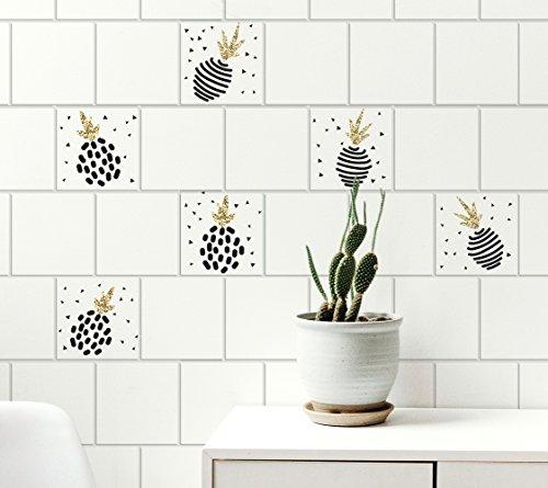 Plage Adhesivos para Azulejos y decoración de la Pared, Vinilo, Dorado, 15x15cm