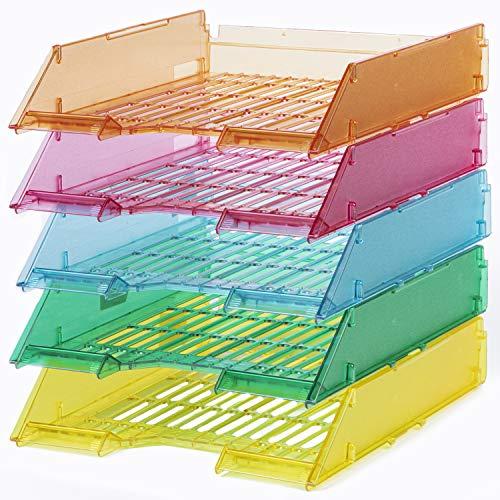 20 Vaschette Portacorrispondenza, Portadocumenti, Portaoggetti A4 Forate (Colori Misti Ice)