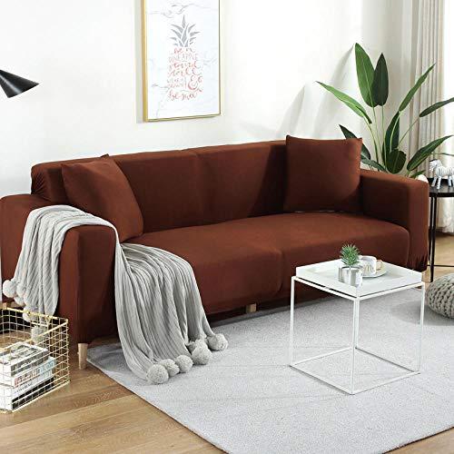 YUTJK Living Room Sofa Seat Covers,Fundas de sofá de Tela elástica Universal,Funda Antideslizante para sofá súper elástico,Protector de sofá seccional,Funda Antideslizante-Coffee_3_Seater/Sofa