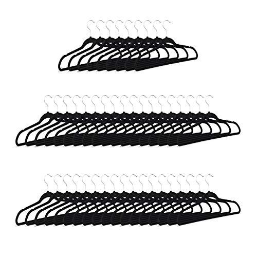 Relaxdays 50 Perchas Color Negro, Faldas y Pantalones, Antideslizantes con Terciopelo, HxLxP: 23,5 x 45 x 0,7 cm, Negro
