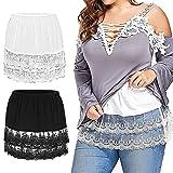 Women's Shirt Extender Lace Plus Size Underskirt Adjustable Half Slip Mini Skirt (2Pack (Black+White), XXXL)