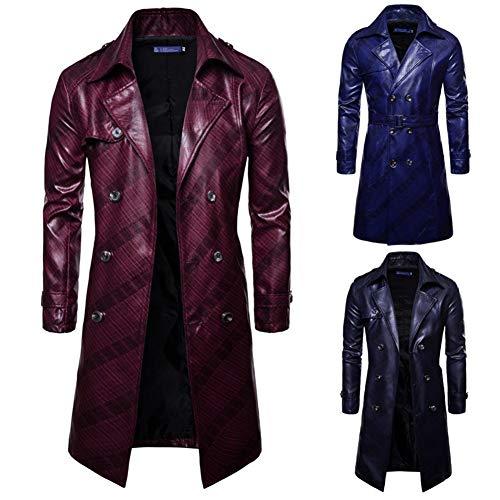 Patrón Aerfeisi larga de los hombres de moda oscuro doble de pecho chaqueta de cuero del soporte de la personalidad británica Collar Cuero Pu-a prueba de viento, impermeable, seguro y caliente un símb