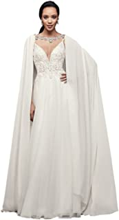 Long Chiffon Cape with Beaded Neckline Style OW2111