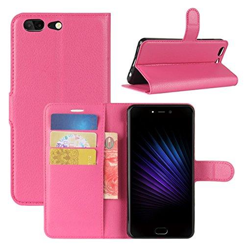 HualuBro Leagoo T5 Hülle, [All Aro& Schutz] Premium PU Leder Leather Wallet Handy Tasche Schutzhülle Hülle Flip Cover mit Karten Slot für Leagoo T5 Smartphone (Rose)