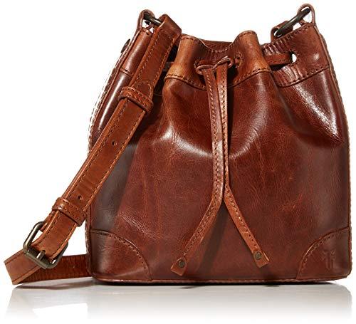 Frye Melissa Leather Drawstring Bucket Crossbody Bag, Cognac