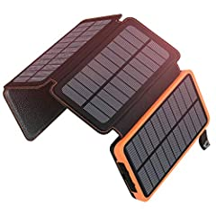 25000mAh SOLAR CHARGER: Provides large battery backup for usage during outdoor activities. The power bank can charge iPhone 6 around 10 times, Samsung S6 around 7 times and iPad Air around 3 times on a full recharge. 4 FOLDABLE SOLAR PANELS: This Por...