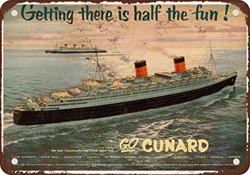 1954 Transatlantic Cunard Lines Vintage Look Reproduction Metal Tin Sign 8 x 12 Inches