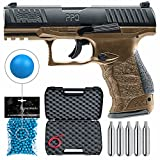 T4E .43cal Walther PPQ LE Paintball Pistol Law Enforcement Trainer with Included 5x12 Gram CO2 Tanks and T4E Pack of .43 Cal Blue Paintballs Bundle (Black/FDE (Pistol + 100 Balls + 5 CO2 Tank))