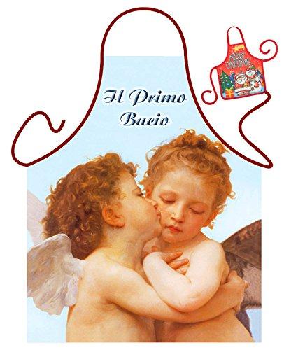 Tini - Shirts Engel Motiv Kochschürze Italien erster Kuss Engel Schürze : I Primo Bacio - Weihnachtssgeschenk-Set - Deko Geschenk Flasche Weihnachten