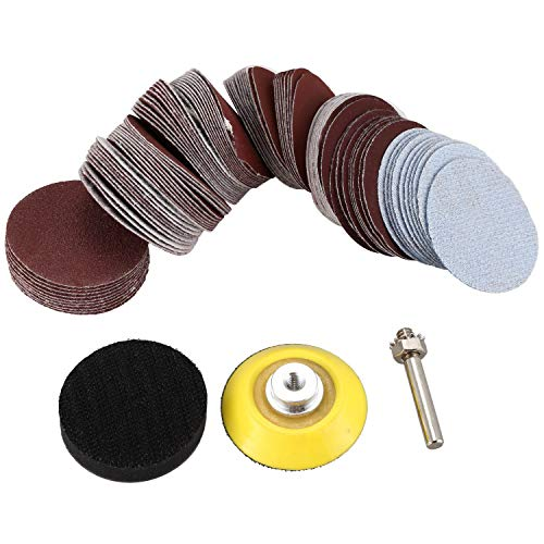 Mefeny 2 inch 100PCS Sanding Discs Pad Kit for Drill Grinder Rotary Tools with Backer Plate 1/4inch Shank Includes 80-3000 Grit Sandpapers