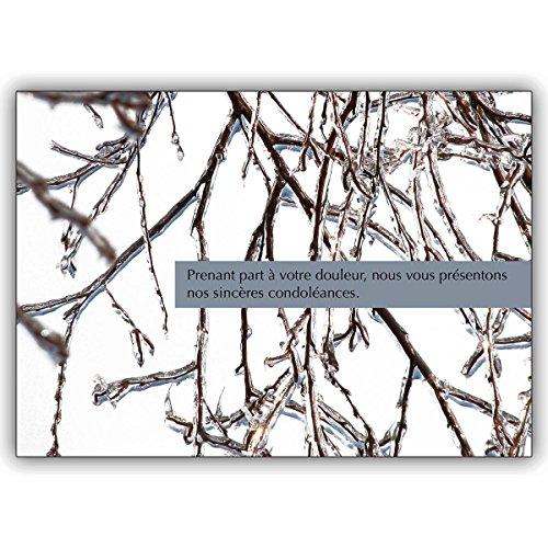 1 tröstende Trauerkarte Französische Kondolenzkarte mit vereisten Ästen: Prenant part à votre douleur. – herzliche Anteilnahme zeigende Beistandskarte um dem Trauerhaus zu kondolieren