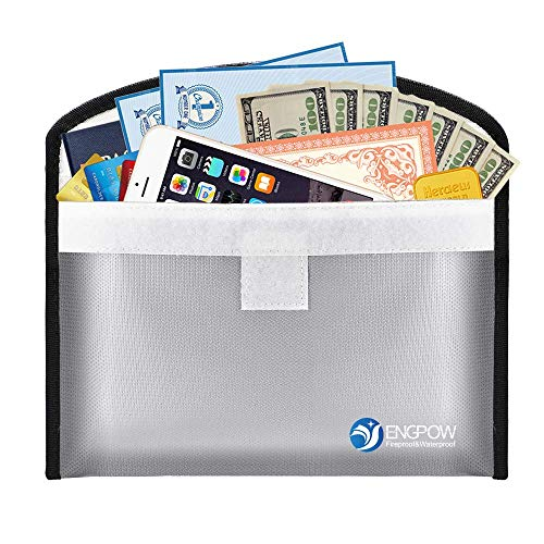 """ENGPOW Small Fireproof Document Bag, 10.2""""x5.9"""" Water-Resistant and Fireproof Money Bag, Fireproof Safe Bag for A5 File, Cash, Passport, Jewelry (Silver)"""