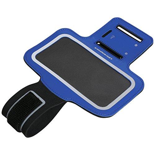Ultrasport Armbandhülle fürs Handy / Neopren Oberarmtasche mit Handy-Fach und robustem Klettverschluss für festen Sitz – Sporthandyhülle für Frauen und Männer, 4 Zoll, Blau