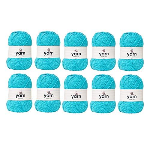 Korbond - Lote al por mayor de 10 madejas de color aguamarina de 100g cada una de hilo acrílico de doble punto, ligero, hipoalergénico y resistente (1000g y 2900m en total)