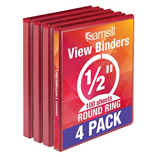 Samsill Economy 3 Ring Binder Organizer, 1 Inch Round Ring Binder, Customizable Clear View Cover, Red Bulk Binder 24 Pack