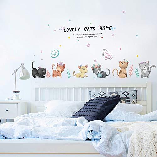 ZYBKOG Wandaufkleber 135 * 50 cm Cartoon Schöne Katzen Wandaufkleber Schöne Katzen Hause DIY Art Vinyl Wohnkultur Für Kreative Wandtatt