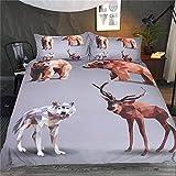 Animals World Grey Bedding Set 3Pcs Cómoda Funda nórdica Funda de Almohada Twin Full Queen King Size Ropa de Cama Funda de edredón Decoración para el hogar