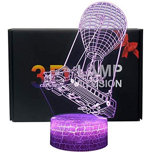 Illusione ottica 3D NHSUNRAY Tasto di Tocco Crepa base Colore 7 Che Cambia la Luce di Notte Con Telecomando Del LED Desk Lamp per Home Decor Kids Del Regalo di Natale (Mongolfiera)