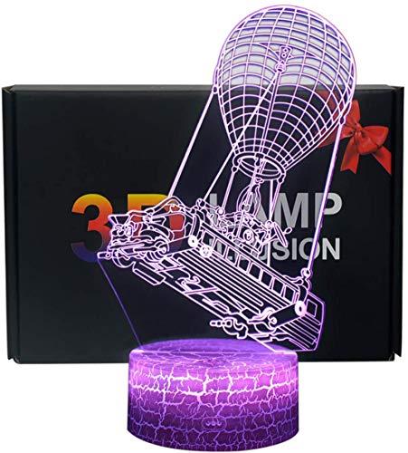 3D Lámpara de Escritorio NHSUNRAY 7 colores LED Touch lámpara de mesa con control remoto para niños cumpleaños regalo de San Valentín de Navidad (barco de globo de aire caliente)