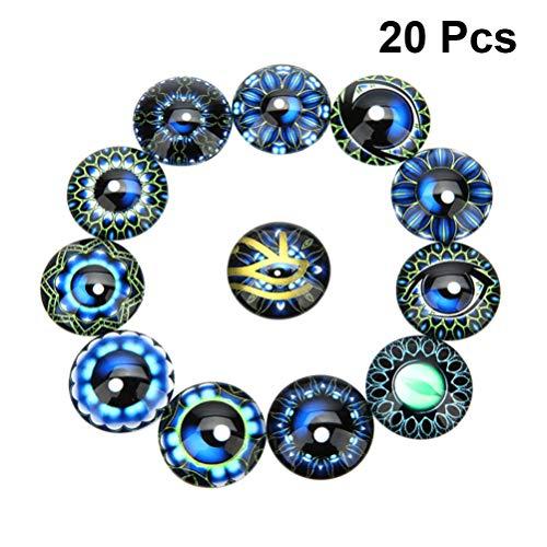 Exceart 20 Stück Blumenglas Kuppel Cabochons Halbrundes Auge Gedruckt Runde Flatback Edelstein Mosaikfliesen für Die Suche nach Schmuck Anhänger Herstellung 25Mm (Blau)