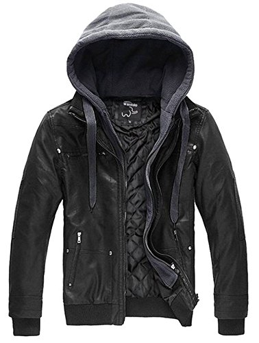 Wantdo Men's Pu Leather Jacket with Removable Hood US X-Large Black(Heavy)