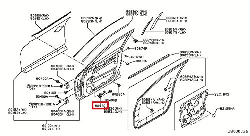 Price comparison product image Infiniti Genuine Panel Fitting Check Front Door Right Link Assy 80430-1BA0A QX50 / EX