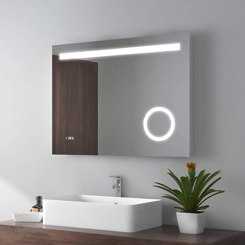 LED Badspiegel 80x60cm Badspiegel mit Beleuchtung kaltwei Lichtspiegel Badezimmerspiegel Wandspiegel mit 3-Fach Vergrerung, Sensor-Schalter, beschlagfrei, Uhr, IP44 energiesparend