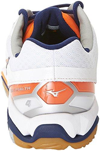 Mizuno Herren Wave Stealth American Handball Schuhe, Mehrfarbig (White/bluedepths/orangeclownfish), 45 EU - 5