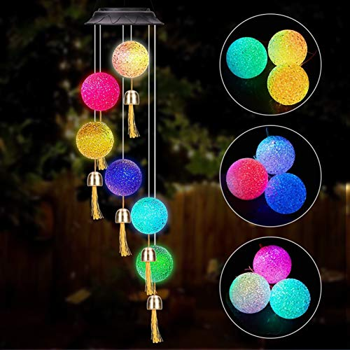 Winzwon Solar Wind Chimes Outdoor Home Mobile Hanging Bells Ball Chime Garden Patio Porch Yard Decoration Waterproof Color Changing LED Solar Lights Gifts for Mom Grandma Women (White)