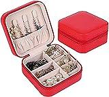 Oevina Caja de Reloj Gabinete de Reloj Mecedo PU Caja de joyería Portátil Pequeño Viaje Joyería de joyería Organizador para Anillos Pendientes Collares Diseño Zip Rojo/Rojo (Color : Red)