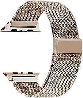Boogie Compatible with Apple Watch Band 38mm 40mm 42mm 44mm, Stainless Steel Milanese Mesh Sport Wristband Loop with Adjustable Magnet Clasp for iWatch Series 5/4/3/2/1(Champagne Gold, 42mm/44mm)
