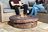 Peaktop Outdoor 36-Inch Round Propane Gas Fire Pit, Brown