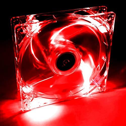 Akyga AW-12A-BR - Ventilador para PC Molex (4 LED, 120 mm, 12 V), Color Rojo