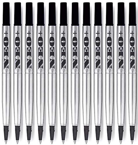 12 x zwart Rollerball pen vullingen compatibel met Parker Quink, 0.5 punt